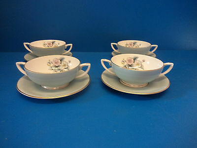 4 X Royal Worcester Woodland Handled Soup Bowls With Saucers