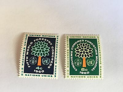 United Nations Unies Un New York Mnh 1960 5Th World Forestry Congress