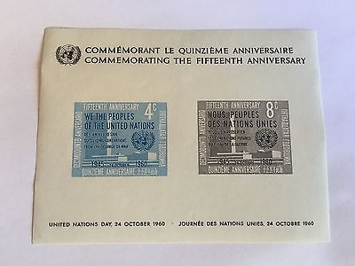 United Nations Unies Un New York Mnh 1960 United Nations Day Charter Minisheet