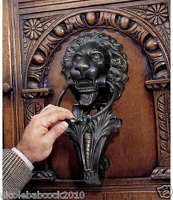 18th Century Italian Cast Iron Door Knocker Antique Lion Head Florentine Style
