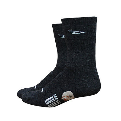 "Defeet - Woolie Boolie 2 with 6"" Cuff in Charcoal - Cycling Sports Socks"