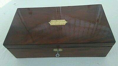 Antique mahogany writing slope with working lock and key