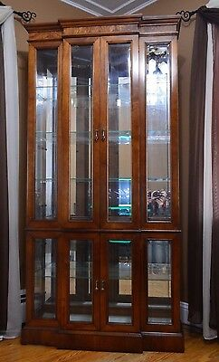 PULASKI Cherry China Cabinet Display Curio Beveled Glass  Lighted