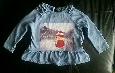 Baby Girl Christmas Top Jumper 3-6 months Blue Bird Red Winter Frilly