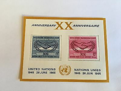 United Nations Unies Un New York Mnh 1965 Intl Cooperation Year Minisheet