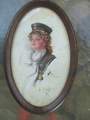 ORIGINAL early1906.HARRISON FISHER print OVAL antique FRAME girl with SAILOR cap
