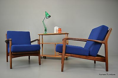 Retro Mid Century Greaves & Thomas Pair Afromosia Armchairs Easy Chairs