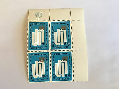 United Nations Unies Un New York Mnh 1969 Definitive Block Of 4