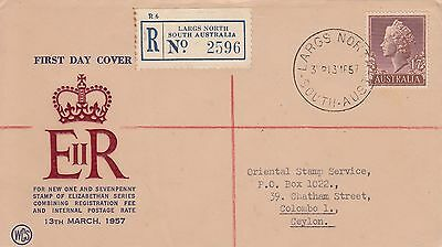 G 2029 WCS Largs North registered March 1957 First Day Cover to Ceylon; 1 sh 7d