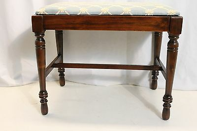 Antique English  Regency style Walnut Piano Stool vanity bench  new upholstery
