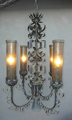 "Vintage 38"" Tall SPANISH REVIVAL Four Light CHANDELIER Rennaisance Style UNIQUE"