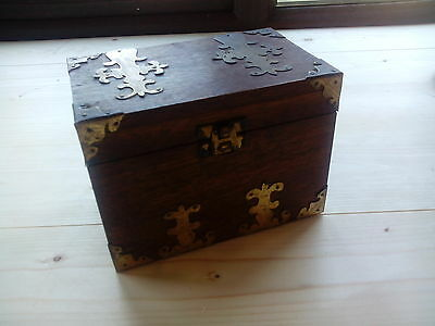 Unusual Old Hand Made Wooden Musical Box with Brass Corners