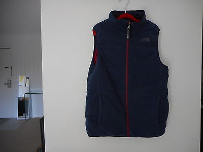 Authentic  North  Face  Reversible Navy Blue Red Vest