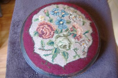Victorian wool embroidered foot stool, Dia. 11ins.