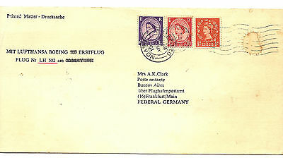 1961 GB Lufthansa First Flight Cover w Lundy Stamp On Rear