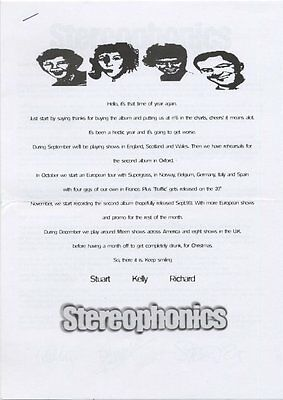 Stereophonics Fan Club News Sheet July 1999