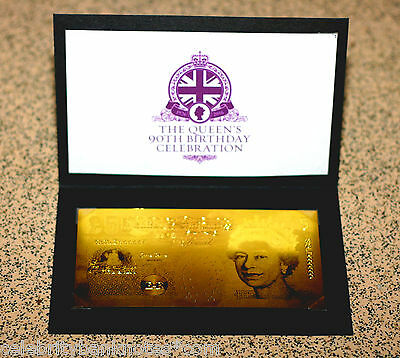 PURE 24K GOLD **£5** QUEENS 90TH BIRTHDAY - 9.999 PROOF Banknote/Bill RARE*