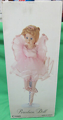 Ballerina Doll - Porcelain Head, Hands and Feet --- 16 inch Pink Costume & Shoes