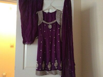 Purple diamonte neckline salwar suit size 8