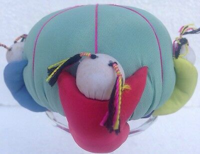 Vintage Teal Silk Pin Cushion Four Chinese Children Colorfully Dressed Holding