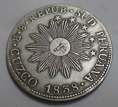 1838 Peru MS 8 Reales South Silver Coin