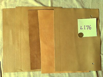 L176 Real leather 5 pieces. 11.5 x 6.5 inches cream to pale fawn