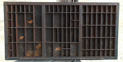 LARGE Antique Wood Printing Typeset Tray, Green Paint, Wood Backing, Rich Patina