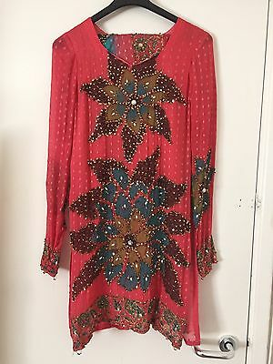 Indian partywear long sleeve coral kameez - size medium