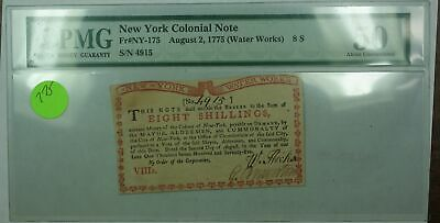 8/2/1775 (Water Works) 8S New York Colonial Note Fr#NY-175 PCGS About UNC 50