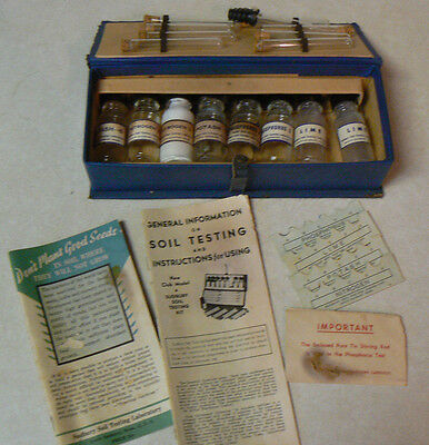 VINTAGE SUDBURY SOIL TEST KIT in original box 8 bottles 8 test tubes + paperwork