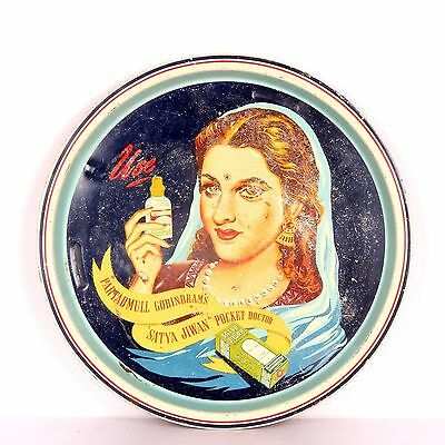 Vintage Old Tin Iron Tray With Beautiful Lady Print