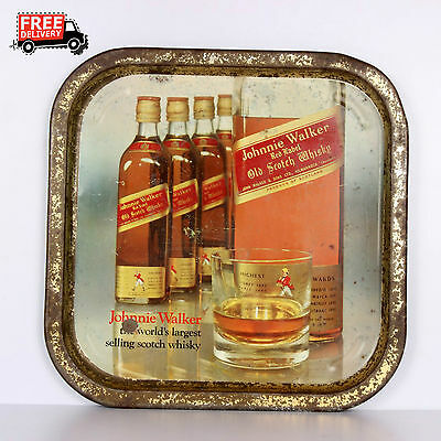 Vintage Old Rare Jhonnie Walker Scotch Whisky Serving Litho Print Tin Tray 783