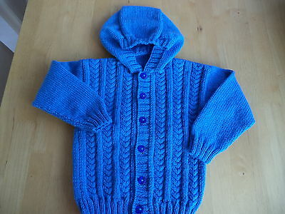 "Boys hand knitted hoody/jacket 24"" chest approx age 3-4 years   Mid Blue"
