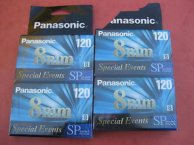 (Lot of 4) Panasonic 120 SP 8mm Digital video 8 Camcorder Tapes - Free shipping