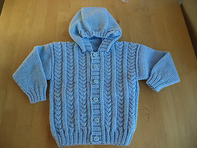 "Boys hand knitted hoody/jacket 24"" chest approx age 3-4 years   Pale Blue"