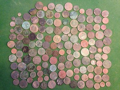 Mixed Job Lot Of Coins Metal Detecting Finds Worn Half Penny  Farthing Old Etc