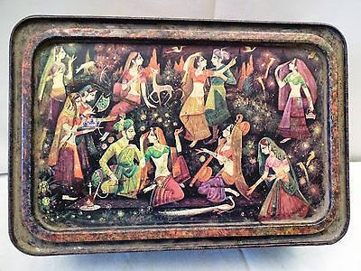 Antique Mughal Print Vintage Tin Lithograph Old Animated Design Trinket Box Rare