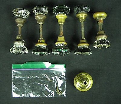 Antique Set of 5 Cut Glass Crystal & Brass Door Knob Sets w/ Bonus Brass Knob