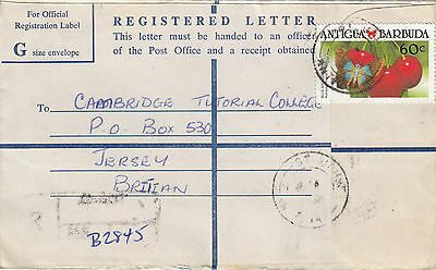 E 1106 Antigua and Barbuda Official Registered Letter to UK 1991. G size