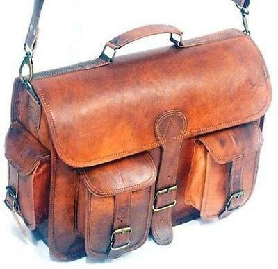 Genuine Vintage Brown Leather Bag Men's Messenger Shoulder Laptop Bag Briefcase