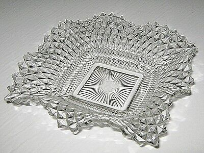 Nice Clear Glass Square Vintage Wave Bowl Candy Dishes - Ashtray