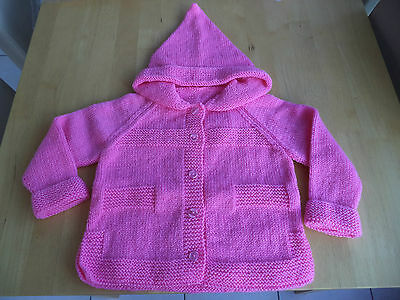 """Girls hand knitted hoody/jacket 24"""" chest approx age 3-4 years  Pink"""