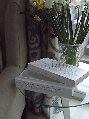 Shabby Chic Rustic Decorative Hand Carved Scroll Wooden Box -White-Home Decor