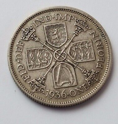 1936 - Silver - Two Shillings / Florin - Great Britain - King George V - UK Coin
