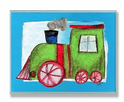 The Kids Room by Stupell Green Train with Blue Border Rectangle Wall Plaque