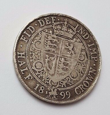 1899 - Silver - Half Crown - Great Britain - Queen Victoria - English UK Coin