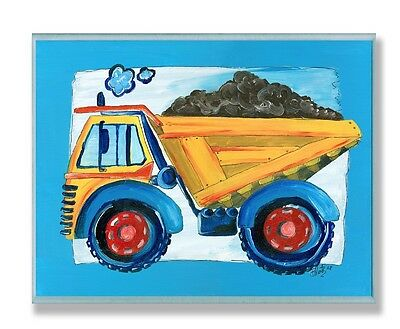 The Kids Room by Stupell Yellow Dump Truck w/ Blue Border Rectangle Wall Plaque