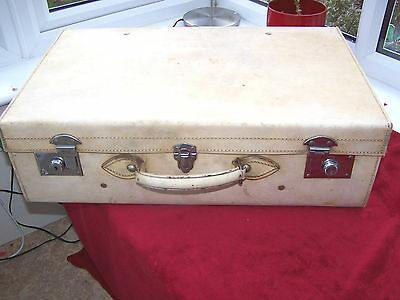 Vintage Pigskin Vellum Leather Gentlemans Suitcase