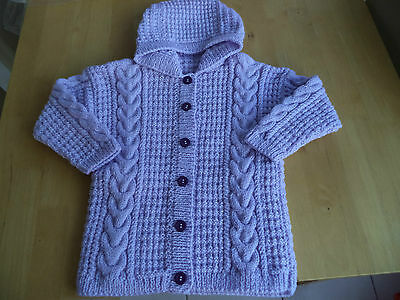 """Girls hand knitted hoody/jacket 24"""" chest approx age 3-4 years  Pale Lilac"""