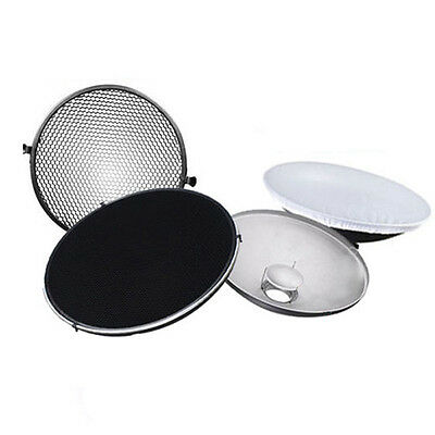 Photo Studio Flash Beauty Dish 42cm S type Honeycomb + White Diffuser SP
